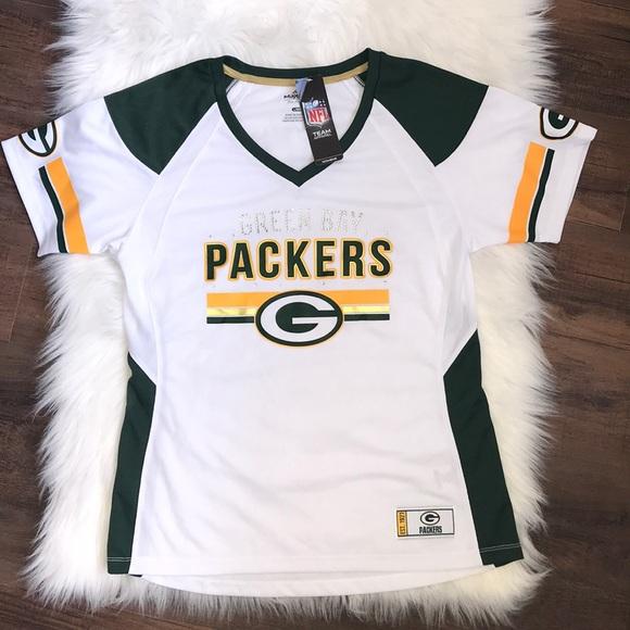 039e0139 NWT Women's Sz L Green Bay Packers Jersey bling NWT